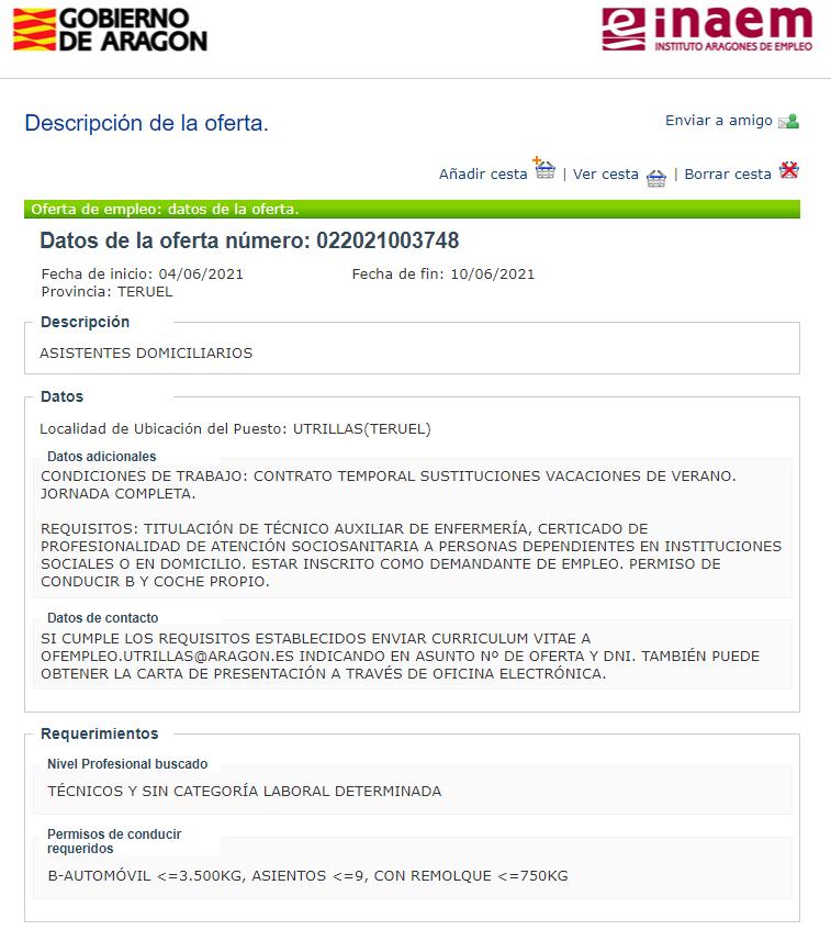 Oferta Servicio Ayuda a Domicilio